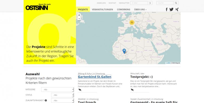 Ostsinn Raum für mehr St.Gallen Schweiz Plattform für Nachhaltigkeit Drupal ostsinn.ch Projekte Karte