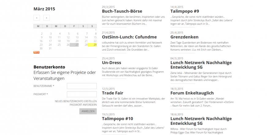Ostsinn Raum für mehr St.Gallen Schweiz Plattform für Nachhaltigkeit Drupal ostsinn.ch Veranstaltungskalender