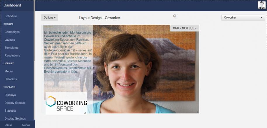 Digital Signage mit Android 4k HDMI TV-Box als Client und Open Source Webinterface Layout Design