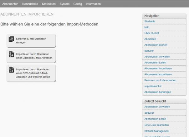 Newsletter Mailinglisten Phplist Abonennten importieren